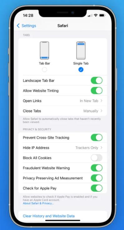 iOS 15 beta 6 reset safari browser settings address bar